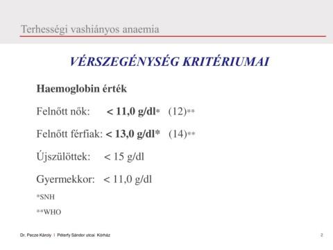 Az anaemia laboratóriumi vizsgálata