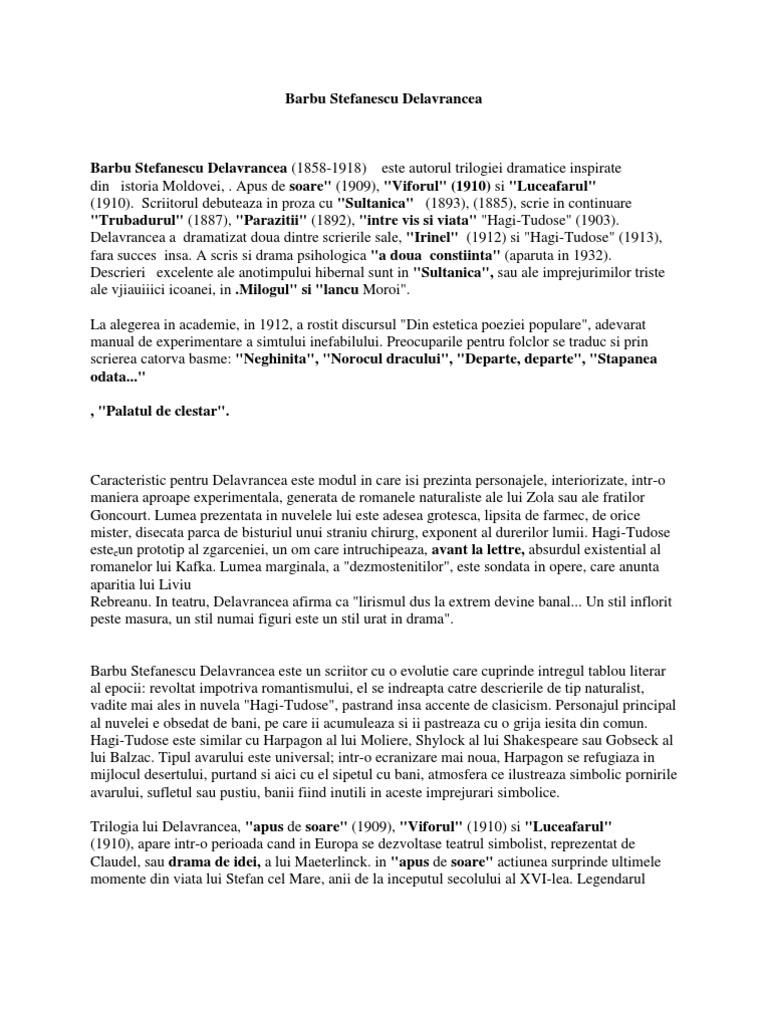 paraziták barbu stefanescu delavrancea összefoglaló